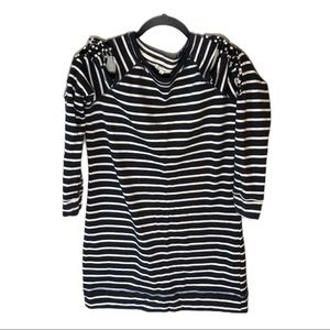 MAURICES Striped Tunic Cold Shoulder Top